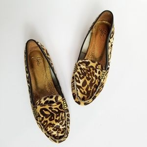 Joie Leopard Calf Hair Leather Loafers